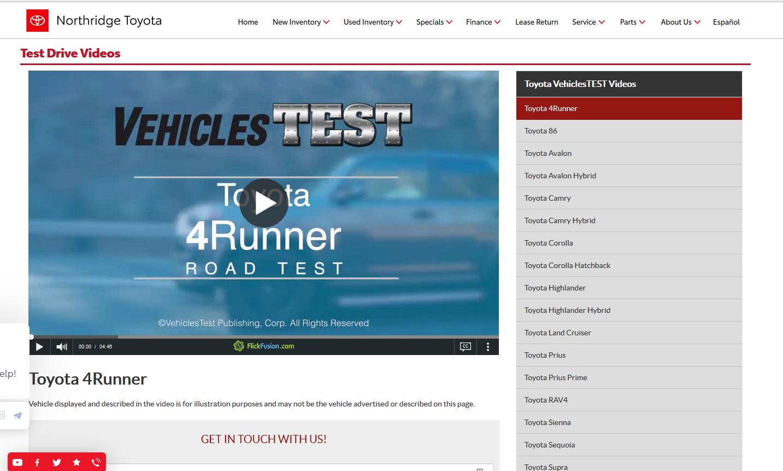 Test Drive Videos Page--Northridge Toyota